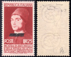 Trieste, Zone A, 1953 – , Antonello da Messina, Triple AMG-FTT overprint – MNH