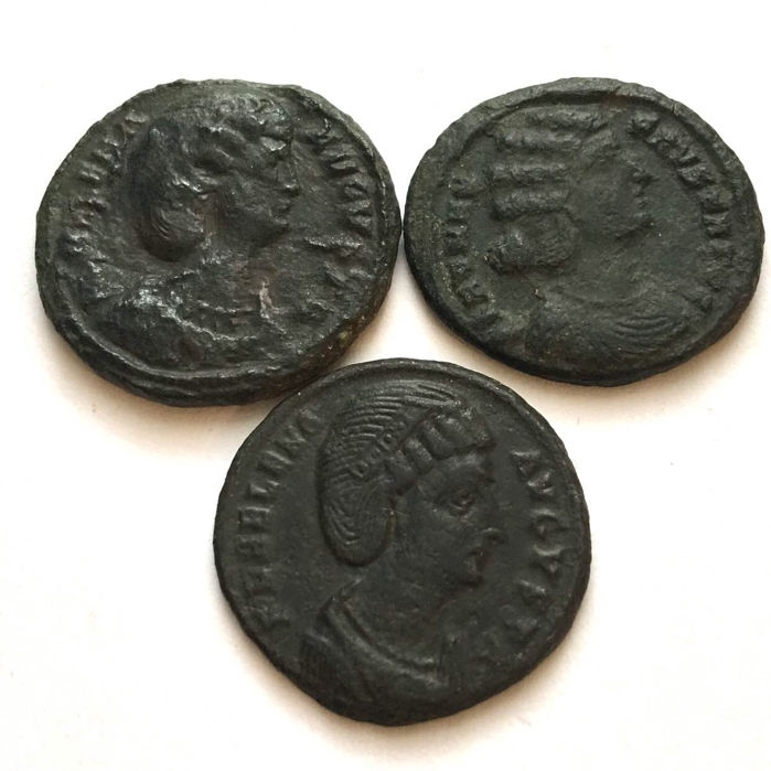 Roman Empire - Lot of 3 AE's, Helena, mother of Constantine I The Great and Fausta, his wife.