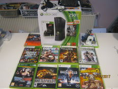 X-box 360 boxed(250gb)+2 controllers+camera+headset,and more acc+10 games. Gta V,Far cry 3,Gears of war 2,The orange box,Borderland,Battlefield,etc