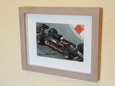 "Mario Andretti - World champion formula 1 and ""The Driver of the Century"" - original autographed framed JPS Monaco photo + COA."