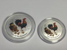 Australia – 1 AUD + 0.5 AUD, Lunar II, Year of the Chicken, 1 oz + 0.5 oz – with a classic colour scheme