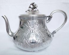 Very large teapot of Louis XVI style in sterling silver, Odiot, France, late 19th century