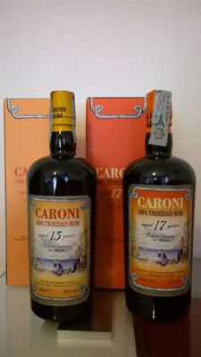 Velier Caroni, 1x 15 y.o. 104° Proof & 1x 17 y.o 110° Proof - 2 bottles in total