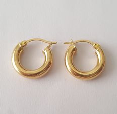 Small creole earrings made of 18 kt yellow gold