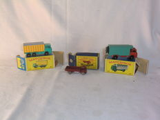 (Moko) Lesney Matchbox - Various scales - ERF Stake Truck No.20a, DAF Tipper Container Truck No.47c and GMC Refrigerator Truck No.44c
