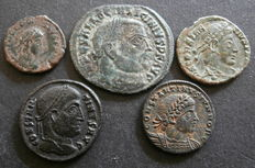 Roman Empire - five different AE follis of various emperors in the 4th century (5).