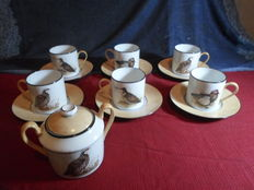 Limoges Porcelain - Henderson-J-L. - Hand-Decorated coffee set.