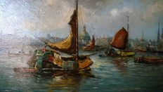 Everet Moll, attributable. View of the port of Amsterdam