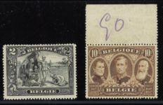 Belgium 1915 - Albert I and sights 2 Fr and 10 Fr perforation 15 - OPB 146A and 149A