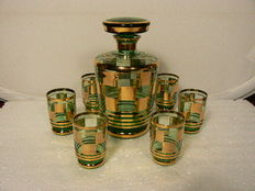 Tchecover, Landgraf – Decorated Art Deco decanter with six glasses