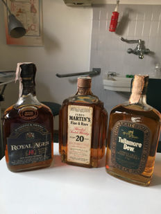 3 bottles of 75cl : Royal Ages 15 years old Justerine & Brooks, Martin's 20 years old Fine and Rare & Tullamore Dew Irish Whiskey