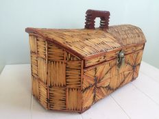 Tramp Art sewing chest, mid 20th century