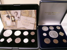 "The Netherlands - Coin set ""Crown collection 1898-1948 Wilhelmina"" (2 sets) - including silver"