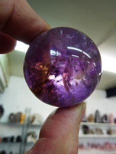 Purple/yellow Ametrine sphere, with foot - 4,7cm - 141gm