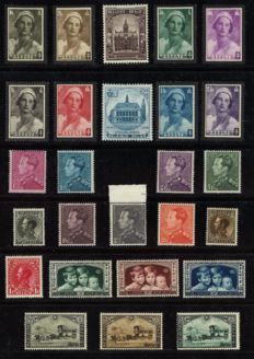 Belgium 1934/1936 - Selection with Borgerhout Town Hall, Charleroi and 2.45Fr Poortman - OPB 401/437