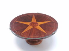 Wooden presentation bowl with inlay, so-called Lazy Susan, probably England, first half of 20th century