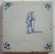 """Antique tile with figure, so called """"person throwing up"""", special scene!"""