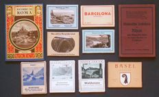 Travel souvenirs – Lot with 7 folders with photos and 3 harmonica books – 10 items – dating unknown