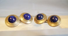 Double cufflinks with lapis lazuli