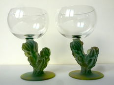Hilton McConnico (Daum) - box set of 2 glasses Dust no. 2 Cactus (signed)