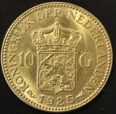 The Netherlands – 10 guilder coin  1925, Wilhelmina – gold.