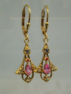 Earrings with multi-coloured sapphire 0.60ct in total.