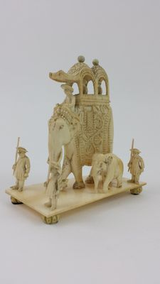 Ivory Elephant and Attendants - India - late 19th century