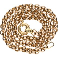 14 kt yellow gold rolo link necklace – length: 45.7 cm