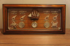 Framed ship's knots with clock - thermometer - barometer