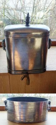 Tin-Water reservoir with brass tap and large tray-19th century