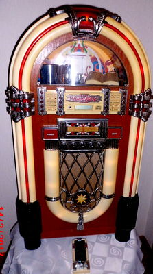 "Nostalgic jukebox/music box, retro ""Elta 2752"" with radio, tape deck, CD player, and remote control"
