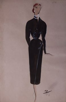 Painting attributed to Pierre Cardin: 'skinny' style with assymetrical buttons.