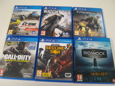 Lot of 6 PS4 topgames - Titanfall 2, Infinite Warfare, Bioshock Collection, Second Son, The Crew wild run, Watchdogs