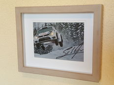 "Sebastien Ogier - 3-time world champion WRC - beautiful ""flying"" framed action photo - hand-signed + COA"