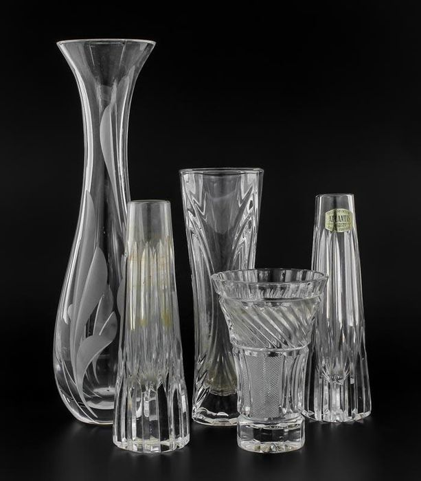 Lot Of 5 Faceted Crystal Vases 35 Atlantis Portugal Vases Second