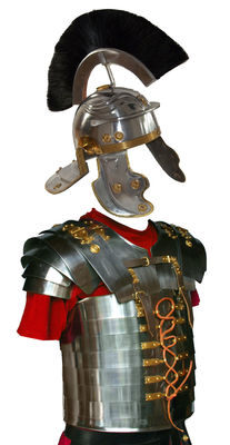 Roman officer's helmet with armour - steel/brass, hand-forged