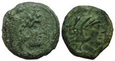 Roman Republic - Anonymous, Sextantal series -  Lot x 2 of AE Quadrans, ca. 2nd century BC - Rome mint - Head Hercules / Prow of galley