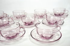 Set of glass Art Deco coffee cups