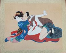 Large erotic painting (Shunga) on silk – Japan – Early 20th century
