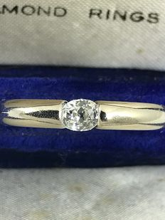 18k Solitaire diamond tension setting ring