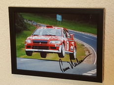 """Tommi Makkinen - 4-time world champion WRC - beautiful """"flying"""" framed action photo - hand-signed + COA"""