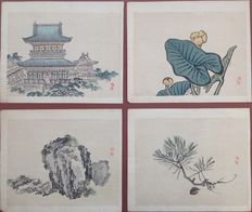 Four pastel coloured woodcuts with a still life scene of Kono Bairei (1844-1895) - Japan - 1913