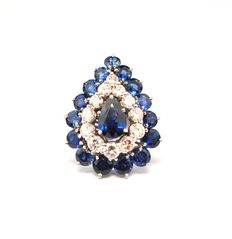 Magnificent Pear-shaped Sapphire & Diamond Pendant Piece- (+/- 2.00CT Color H-I /Purity VS-SI) 18K/750 White Gold - Size 22mm x 27mm
