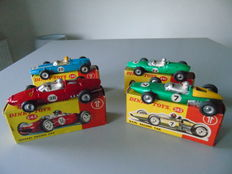 Dinky Toys - scale 1/43 - Lot of race cars: Cooper No.240, Lotus No.241, Ferrari No.242 and BRM No.243