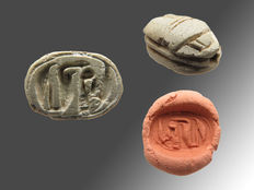 Egyptian steatite scarab with hieroglyphs of Maat, uraeus cobra and neb - 14 mm