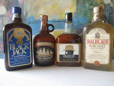 4 bottles - Francis 12 years old & Black Jack 18 years old & Old Wind Jammer Oldmoor & Balblair 5 years old Pure Malt