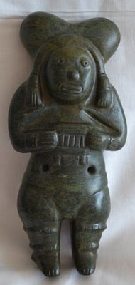 Pre Colombian  Ritual Jade-Figure - 240 x 115 x 45 mm.