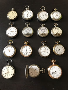 15 pocket watches, steel and silver