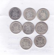 The Netherlands - ½ guilder 1848/1913 (8 different) - silver.