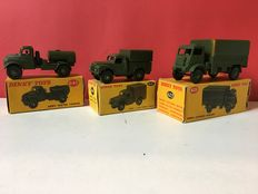 Dinky Toys - Scale 1/48 - Lot with Army Covered Wagon 623, Army 1-ton Cargo Truck 642 and Army Water Tanker 643
